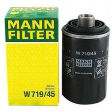 Фильтр масляный Mann W719/45 (AUDI A3 + Cabriolet (8P), A4 (8K, B8), A5 + Cabriolet (8T, 8F), A6 (4G2/4G5), Q3 (8U))