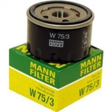 Фильтр маслянный Mann W75/3  Renault Logan >05, Sandero >09, Nissan Tiida, Note, Micra III 1,5 TD